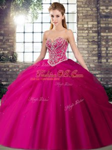 Fuchsia Sweetheart Lace Up Beading and Pick Ups Ball Gown Prom Dress Brush Train Sleeveless