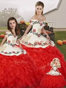 Superior Off The Shoulder Sleeveless Quinceanera Dress Floor Length Embroidery and Ruffles White And Red Organza