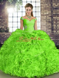 Organza Lace Up Quinceanera Gown Sleeveless Floor Length Beading and Ruffles