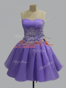 Luxurious Lavender Sleeveless Mini Length Beading Lace Up Cocktail Dresses