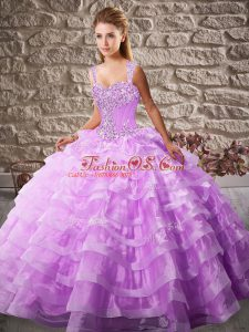 Sleeveless Lace Up Floor Length Beading and Ruffled Layers Vestidos de Quinceanera