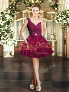 Burgundy Sleeveless Mini Length Ruffles Backless Prom Evening Gown