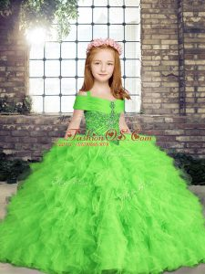 Beautiful Lace Up Straps Beading and Ruffles Little Girl Pageant Gowns Tulle Sleeveless