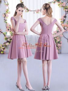 Latest Straps Cap Sleeves Dama Dress for Quinceanera Mini Length Ruching Pink Chiffon