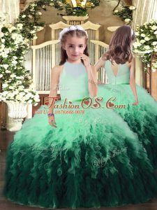 Floor Length Multi-color Child Pageant Dress High-neck Sleeveless Backless