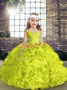 Modern Yellow Green Ball Gowns Straps Sleeveless Organza and Fabric With Rolling Flowers Floor Length Lace Up Beading Custom Made Pageant Dress