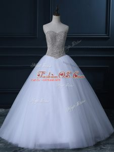 Pretty White Zipper Sweetheart Beading and Bowknot Wedding Gown Tulle Sleeveless