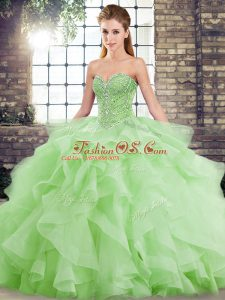 Best Selling Sleeveless Beading and Ruffles Lace Up Sweet 16 Dresses with Brush Train