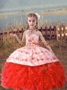 Coral Red Lace Up Child Pageant Dress Beading and Embroidery and Ruffles Sleeveless Floor Length