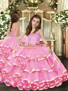 Floor Length Pink Little Girls Pageant Dress Wholesale Organza Sleeveless Beading and Ruffled Layers