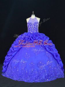 Royal Blue Taffeta Lace Up Halter Top Sleeveless Floor Length Sweet 16 Quinceanera Dress Beading and Appliques and Embroidery and Pick Ups