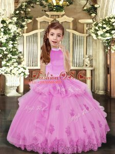 Customized Lilac Sleeveless Tulle Backless Pageant Gowns for Party and Sweet 16 and Wedding Party