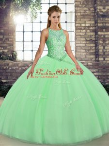 Attractive Green Ball Gowns Scoop Sleeveless Tulle Floor Length Lace Up Embroidery Quinceanera Gown