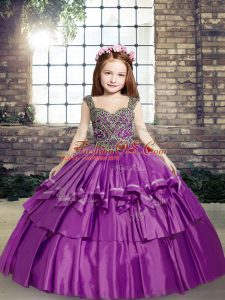 Purple Taffeta Lace Up Straps Sleeveless Floor Length Little Girl Pageant Dress Beading