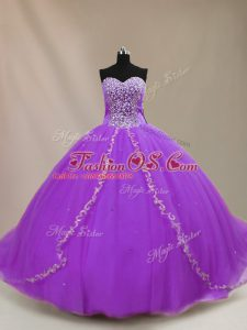 Eye-catching Purple Quinceanera Gowns Sweet 16 and Quinceanera with Beading Sweetheart Sleeveless Court Train Lace Up
