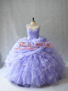 Lavender Lace Up Scoop Beading and Ruffles and Pick Ups Quinceanera Gown Organza Sleeveless Brush Train