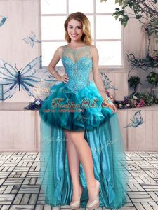 Admirable Scoop Sleeveless Womens Party Dresses High Low Beading and Ruffles Blue Tulle