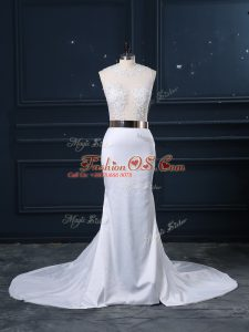 Fashionable White Zipper Wedding Dress Appliques and Sashes ribbons Sleeveless Brush Train