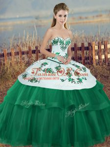 Sweet Green Sleeveless Embroidery and Bowknot Floor Length Ball Gown Prom Dress