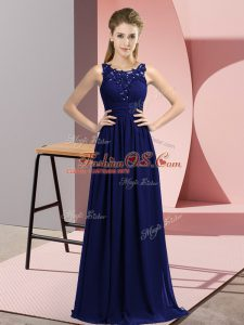 Scoop Sleeveless Bridesmaid Gown Floor Length Beading and Appliques Navy Blue Chiffon