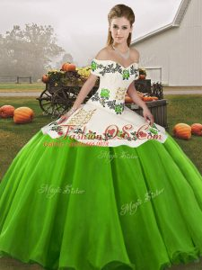 Fantastic Organza Sleeveless Floor Length Sweet 16 Dresses and Embroidery