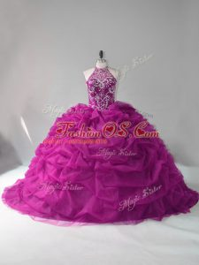 Sleeveless Organza Lace Up Sweet 16 Quinceanera Dress in Fuchsia with Beading and Pick Ups