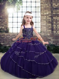 Cute Straps Sleeveless Lace Up Kids Formal Wear Purple Tulle