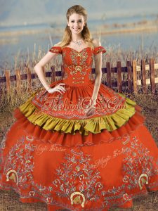 High Class Off The Shoulder Sleeveless Lace Up 15 Quinceanera Dress Rust Red Satin and Organza