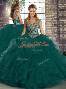 Traditional Peacock Green Tulle Lace Up Sweet 16 Dresses Sleeveless Floor Length Beading and Ruffles