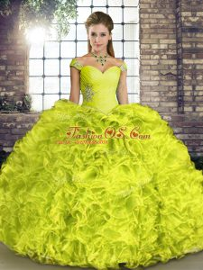 Yellow Green Ball Gowns Beading and Ruffles Sweet 16 Dresses Lace Up Organza Sleeveless Floor Length