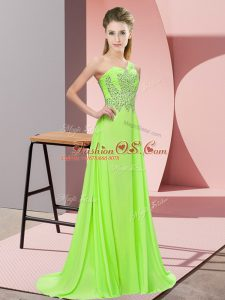 Eye-catching Empire One Shoulder Sleeveless Chiffon Floor Length Side Zipper Beading Prom Evening Gown
