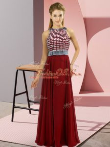 Floor Length Red Mother Of The Bride Dress Scoop Sleeveless Side Zipper
