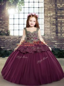 Purple Ball Gowns Tulle Straps Sleeveless Beading and Appliques Floor Length Lace Up Little Girls Pageant Gowns