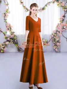 Ankle Length Zipper Bridesmaid Dress Rust Red for Wedding Party with Ruching