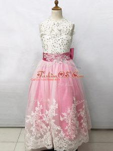 Chic Pink And White Sleeveless Floor Length Beading and Lace and Bowknot Lace Up Flower Girl Dresses for Less