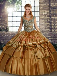 Simple Brown Ball Gowns Straps Sleeveless Taffeta Floor Length Lace Up Beading and Ruffled Layers Quince Ball Gowns