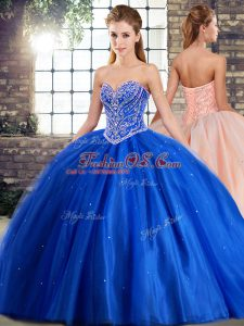 Custom Made Tulle Sweetheart Sleeveless Brush Train Lace Up Beading Sweet 16 Dress in Blue