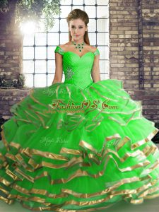 Green Sleeveless Beading and Ruffled Layers Floor Length Quinceanera Dress