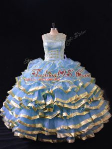 Scoop Sleeveless Lace Up 15 Quinceanera Dress Blue Organza