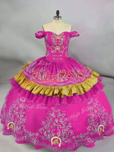 Fuchsia Off The Shoulder Neckline Embroidery Quinceanera Gowns Sleeveless Side Zipper