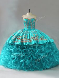 Spectacular Aqua Blue Lace Up Quinceanera Dresses Embroidery and Ruffles Sleeveless Brush Train