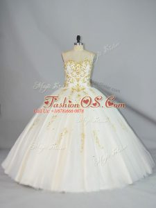 Champagne Quinceanera Gowns Sweet 16 and Quinceanera with Beading Halter Top Sleeveless Lace Up
