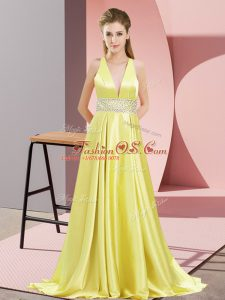 Yellow Sleeveless Elastic Woven Satin Brush Train Backless Prom Evening Gown for Prom and Party