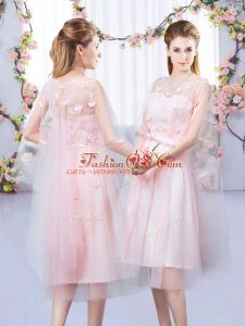 Clearance Tea Length Baby Pink Dama Dress for Quinceanera V-neck Sleeveless Lace Up