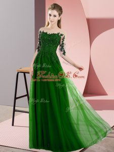 Green Half Sleeves Floor Length Beading and Lace Lace Up Wedding Party Dress
