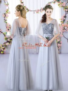 Floor Length Lace Up Bridesmaid Dresses Grey for Wedding Party with Appliques