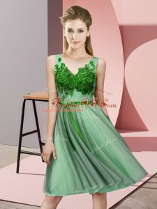 Fantastic Knee Length Green Wedding Party Dress Tulle Sleeveless Appliques