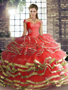 New Arrival Coral Red Sleeveless Beading and Ruffled Layers Floor Length 15 Quinceanera Dress
