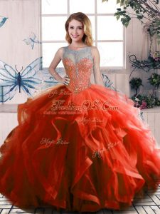 Floor Length Ball Gowns Sleeveless Rust Red Sweet 16 Quinceanera Dress Lace Up
