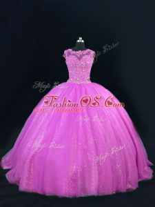 Flirting Lilac Lace Up Scoop Beading and Lace Quinceanera Gown Tulle Sleeveless